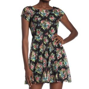 Love Squared Floral Lace Fit & Flare Mini Dress
